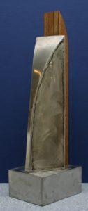 Wolf Glossner  Skulptur aus Holz und Stahl, ca 50 cm hoch