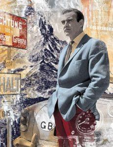 """""""The Big Bond - Sean Connery""""  Mischtechnik auf gebürstetem Aluminium  limitierte Auflage, 100 x 130 cm"""