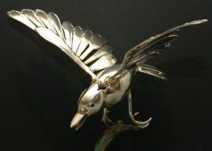 """Rolf Meurer  Collage aus Silberbesteck  """"Vogel""""  Höhe 27 cm"""