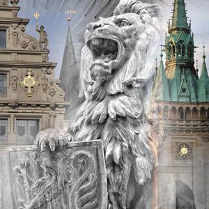 """»Braunschweig«  Oliver Rossdeutscher, Serie """"metal cities"""", Direktdruck auf Aluminium, ab 30 x 30 cm bis 120 x 120 cm"""