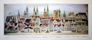 »Braunschweig Ansicht«  Herbert Waltmann Auflage 150 Exemplare, signiert und numeriert, 69 x 30 cm