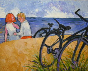 """Am Strand""  Öl auf Leinwand,  100 x 80 cm"