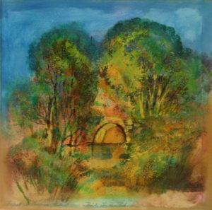 """Ernst Peter Rade, """"Brücke über einen Bach"""" Acryltempera, 40 x 40 cm"""